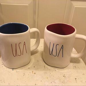 ⭐️ NWT Rae Dunn Set Of Two (2) USA Colored Mugs